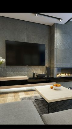 Living Room Modern Tv Wall Design Awesome Tv Wall Mount Ideas for Living Room – Viralhomezfo Living Room Tv, Living Room With Fireplace, Living Room Interior, Tiled Wall Living Room, Tv Wall Ideas Living Room, Feature Wall Living Room, Bedroom Wall, Living Area, Bedroom Decor