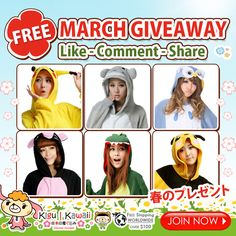 FREE MARCH ONESIE GIVEAWAY ✿ Want to win these Adorable Onesies? JOIN NOW ► http://on.fb.me/1QsUD40 Just simply follow the mechanics! 1 winner will receive 1 kigurumi of his/her own choice. Contest will run from March 3, 2016 - March 9, 2016. We will announce our winner on our newsletter and social media accounts on March 10, 2016.
