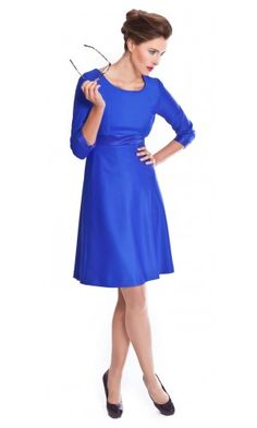 Women's cobalt blue dress for work made from Super 100s pure wool | The Vanessa by NOOSHIN
