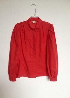Kaufe meinen Artikel bei #Kleiderkreisel http://www.kleiderkreisel.de/damenmode/blusen/87266570-rote-vintage-designer-trachtenbluse-mit-stickerei-durchsichtig