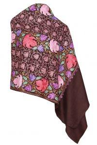 Kashmiri aari work designer stole  Pure wool  Very elegant  Redand pink flower design