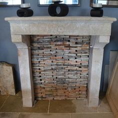 Antique French fireplace, chimney piece, mantel in limestone for sale on SalvoWEB from  B.C.A. Materiaux Anciens in France [Salvo code dealer