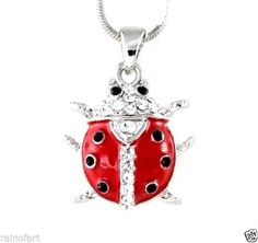"""Ladybug+W+Swarovski+Crystal+Lady+Bug+Insect+Red+Clear+New+Pendant+Gift+18""""+Chain+#Handmade+#Pendant"""