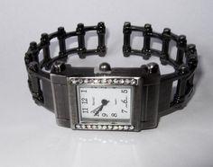 New AB Crystals Steampunk Designed Pewter Bangle Cuff  Watch #GenevaNarmi #Fashion