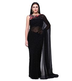 Black Crysal Georgette & Satin Georgette Mirror Work With Stitched Blouse
