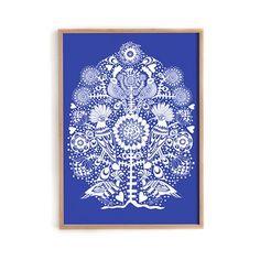 Lisa Grue poster 'Birds in a tree blue'