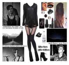 """""""✘ It's a damn cold night. Trying to figure out this life. Won't you take me by the hand? Take me somewhere new. I don't know who you are but I'm with you. ✘"""" by blueknight ❤ liked on Polyvore featuring Nili Lotan, NARS Cosmetics, MusicSkins, Nly Shoes and Diesel"""