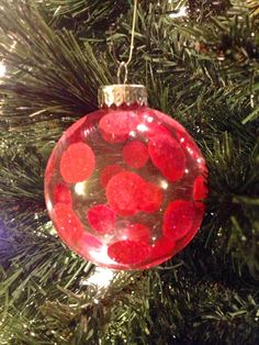 Pink stained and painted polka dot ornament - DIY