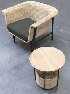 WICKED Armchair and Sofa, and BASKET Tables | Design Alain Gilles for VINCENT SHEPPARD - Side table coffee tables sofa armchair wicker rattan woven furniture design wood steel outdoor indour