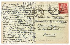 FRANCE, PARIS - 1931: old used handwritten postcard letter with unreadable undefined text