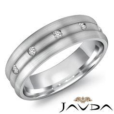 8mm Mens 5 Stone Diamond Half Wedding Dome Band 14k White Gold Solid Ring 0 50ct | eBay
