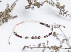 Garnet Bracelet Boho Jewelry Birthstone Bracelet Dusty beige cord