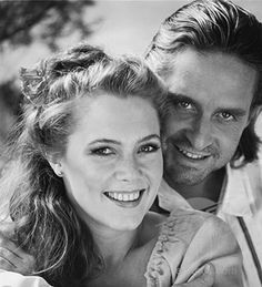 Kathleen Turner pictured her with Kirk Douglas from Romancing The Stone which is one of my favorite movies!