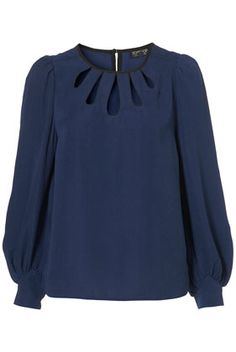 Long-sleeve teardrop blouse in navy blue, from Topshop (item #13D38ABLE) // I would wear this blouse every day if I owned it