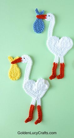 Stork applique crochet pattern, heart-shaped stork, baby items embellishment, decoration Bead Crochet, Cute Crochet, Crochet Motif, Crochet Baby, Crochet Earrings, Crochet Patterns, Crochet Hearts, Crochet Appliques, Bead Earrings