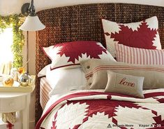 Bedroom: Wonderful Bedrooms in Christmas Decorating Themes, Traditional Christmas Decorating Idea for Bedroom Features Cane Work Headboard and Red White Snowflakes Comforter Motif and Green Vines Plant Ornaments