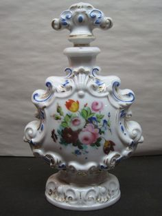 Antique Old Paris Hand Painted Floral Porcelain Perfume Bottle with Stopper | eBay
