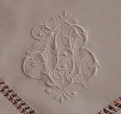 images of gorgeous tablecloths, runners, napkins | 12 triple monogrammed masterpiece napkins