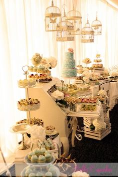 Fancy dessert spread.