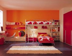 Cheerful Orange Wall Of Kid Room Contemporary Design