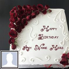 Rose Birthday Cake For Girls With Name And Photo