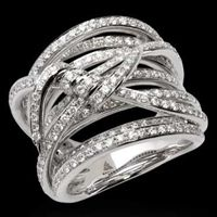 Stephen Webster Pave White Diamond Forget Me Knot Wide Barb Ring in 18kt White Gold