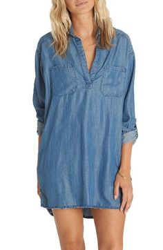 Free shipping and returns on Billabong Wandering Blues Chambray Shirtdress at Nordstrom.com. Cut from soft, lightweight chambray and styled with casual roll-tab sleeves, this relaxed, easy shirtdress is perfect for wandering on warm summer days.