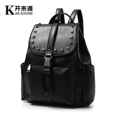 New Fashion Women Waterproof PU Leather Rivet Backpack Women s Backpacks for  Teenage Girls Ladies Bags with Zippers Black Bags. Product ID  64f9668bca
