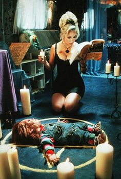 "Bride of Chucky. Chucky and Tiffany. ""Ten years is a long time, Chucky. I'll kill anybody, but I'll only sleep with someone I love. Chucky Movies, Chucky Horror Movie, Horror Movie Characters, Horror Movie Posters, Film Posters, Tiffany Bride Of Chucky, Chucky Tattoo, Vintage Horror, Film Aesthetic"