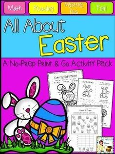This print and go set is packed with more than 25 printable, no prep language arts and math activities with an Easter theme! | by Mrs Thompson's Treasures