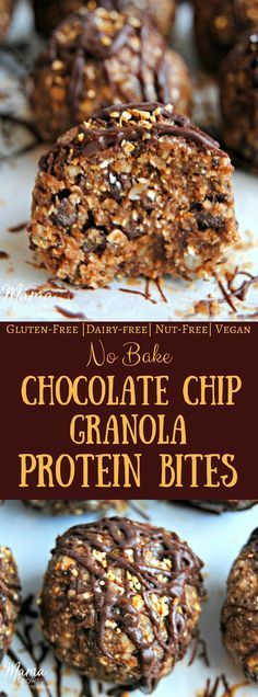 no bake chocolate chip granola protein bites. No Bake Chocolate Chip Granola Protein Bites are gluten-free, dairy-free, nut free and are vegan. This healthy snack recipe is super easy to make and is kid approved! Best Gluten Free Recipes, Allergy Free Recipes, Real Food Recipes, Snack Recipes, Breakfast Recipes, Dessert Recipes, Protein Bites, Protein Snacks, Healthy Snacks