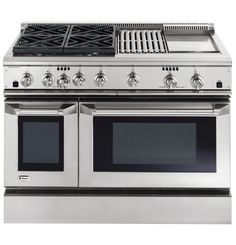 "ZDP48N4GHSS | GE Monogram® 48"" Dual-Fuel Professional Range with 4 Burners, Grill, and Griddle (Natural Gas) 
