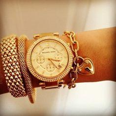 Michael Kors watch and bracelets.  I love all things Michael Kors