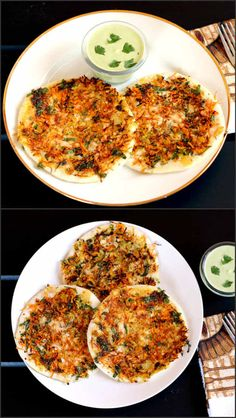 Uttapam is healthy, delicious, popular South-Indian dosa or pancake that tastes the best when served with green coconut chutney. This is vegan, gluten free Healthy Indian Recipes, Indian Snacks, Asian Recipes, Vegetarian Recipes, Uttapam Recipe, Tiffin Recipe, Indian Breakfast, Indian Dishes, Vegan Dishes