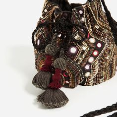 Image 4 of BEADED BUCKET BAG from Zara