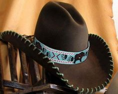 This exquisite work of art that looks stunning on any color and style hat. Custom Cowboy Hats, Cowgirl Hats, Western Hats, Western Wear, Cowgirl Style, Western Style, Native American Beadwork, Native American Fashion, Charlie 1 Horse Hat