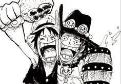 One Piece: Luffy and Ace One Piece Anime, One Piece Luffy, One Piece Pictures, One Piece Images, Manga Anime, Manga Art, Nami Tattoo, Black And White One Piece, Ace Sabo Luffy