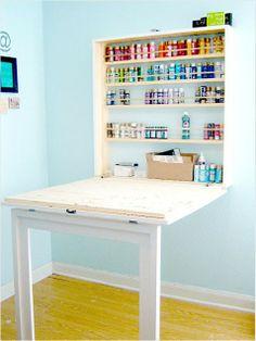 Hidden workspace plus other creative craft spaces. #crafttable #DIY #craftroom