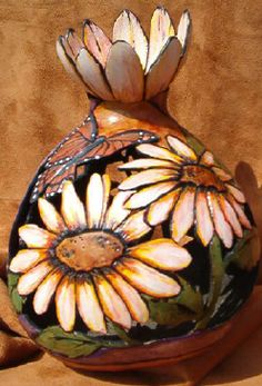 """End of Summer"" gourd by Lani Walton. Cut, carved, burned... colored with Acrylic paint, alcohol inks & watercolor pencils. Top of gourd was carved to resemble a flower and glued (inverted) on top."