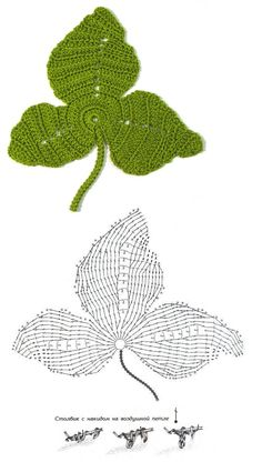 This Pin was discovered by Ton Crochet Leaf Patterns, Crochet Leaves, Knitted Flowers, Crochet Diagram, Freeform Crochet, Crochet Squares, Crochet Designs, Crochet Books, Crochet Art