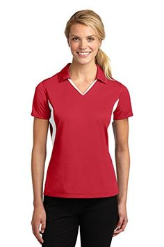 SportTek Womens Side Blocked Micropique Sport Wick Polo XXL True RedWhite * Click image to review more details.