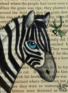 ACEO ZEBRA  DRAWN ON A PAGE FROM A VINTAGE BOOK ON EBAY
