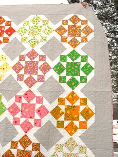 Garden Whimsy - a modern quilt by Angela of Fussy Cut/Raggedy Owl using On a Whim pattern by Camille Roskelley. Heather Ross Briar Rose fabric collection.