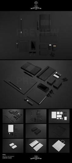 Black Branding Identity Stationery Mock-up by SynthDesign