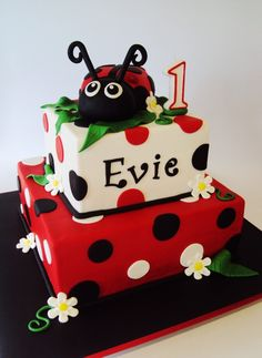 Square 2 Tier with Lady Bug Theme