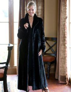 Blackglama/ Black Nafa Mink Coat w/ Wing Collar & Rollback Cuffs