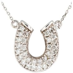 Pre-owned 14k White Gold Horse Shoe Pendant Necklace ($1,281) ❤ liked on Polyvore featuring jewelry, necklaces, accessories, none, 14 karat white gold necklace, 14k necklace, pendants & necklaces, chain necklaces and white gold pendant