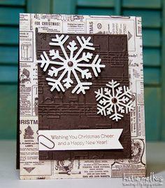 Card Christmas snowflake, embossed background paper, Sweet n Spiffy: Vintage Snowflakes - Merry Monday #132
