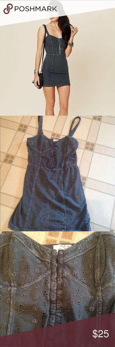 Gray eyelet lace body con dress Gray eyelet lace body con dress from free people has a corset like top with hook and eye closures by the chest area this is a re-posh just a little bit too short for my comfort smoke-free pet free home Free People Dresses Mini