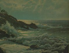 Mid Century Coastal Landscape Painting Lithograph by 2ndhandchicc